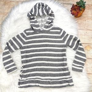 Old Navy Girl Striped Gray/White Hoodie Sz S 6-7